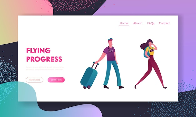 People with luggage book cheap flight landing page template. saving vacation budget