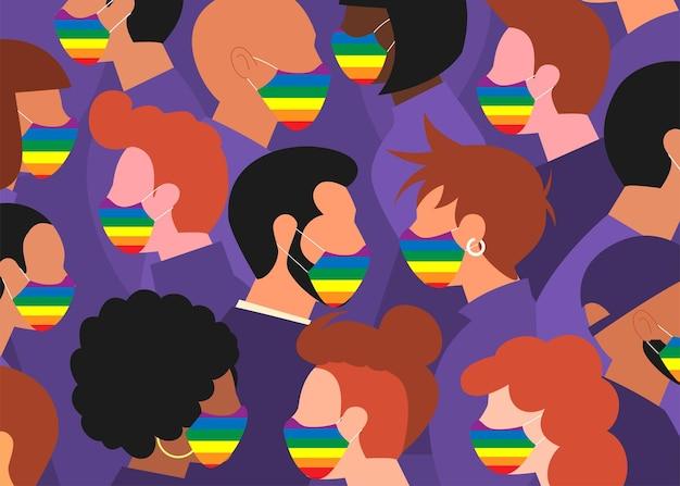 虹色の旗を持ったマスクの顔を持つ人々