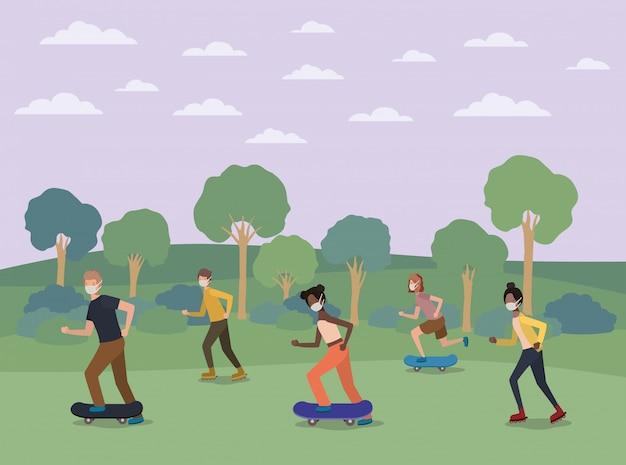 公園の設計でスケートボードのマスクを持つ人々