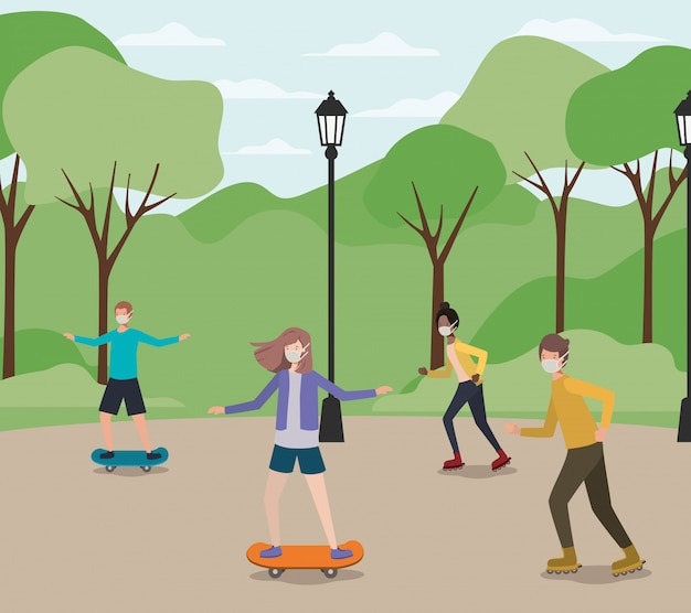 公園でスケートボードのマスクを持つ人々