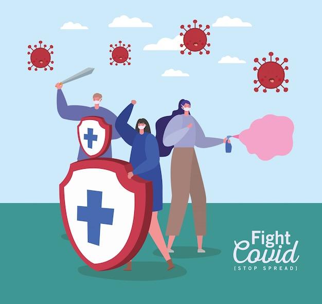 マスクを持つ人々は剣とスプレーのcovidデザインを戦います