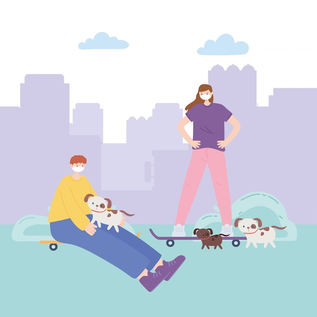 People with medical face mask, boy and girl with skates and dogs in the park