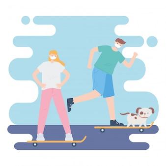 Люди с медицинской маской, пара катается на коньках с собакой