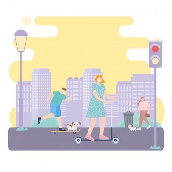 Люди с медицинской маской для лица, занимающиеся различными видами деятельности на городской улице, во время коронавирусной болезни 19