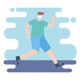 People with medical face mask, man practicing exercise, city activity during coronavirus