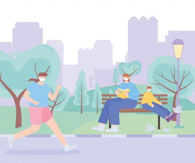 Люди с медицинской маской, женщина и мальчик на скамейке и женщина бегут по улице, городская активность во время коронавируса