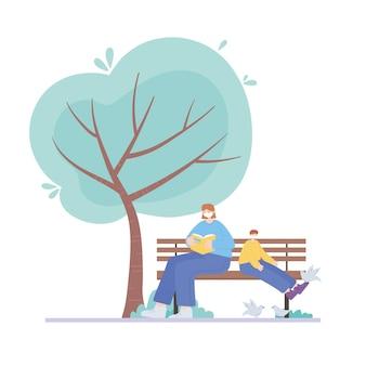Люди с медицинской маской, женщина и мальчик на скамейке с голубями, городская активность во время коронавируса