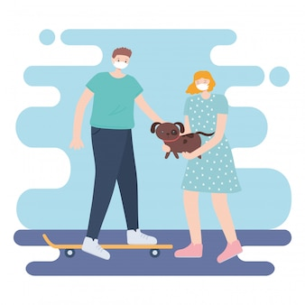 People with medical face mask, woman carrying dog and man riding skate