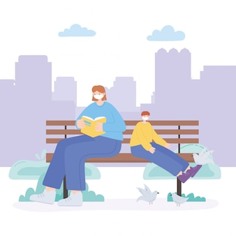People with medical face mask, woman reading book with boy and pigeons on bench, city activity during coronavirus