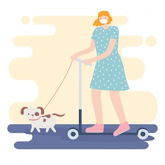 People with medical face mask, woman riding kick scooter with dog