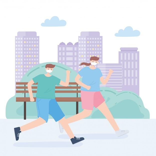 Люди с медицинской маской, бегущей женщиной и мальчиком кататься на коньках в парке, городской активности во время коронавируса