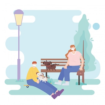People with medical face mask, woman sitting on bench and boy with skate and dogs