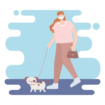 People with medical face mask, woman walking with dog pet