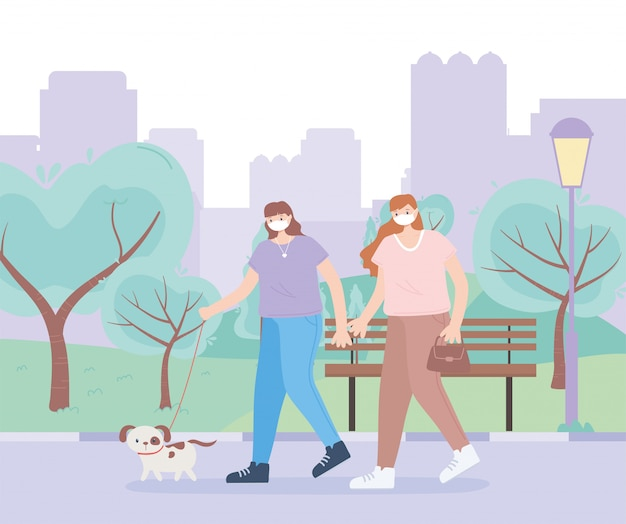 People with medical face mask, women walking with dog park urban scene, city activity during coronavirus