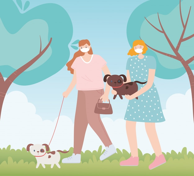 People with medical face mask, women walking with pets dog