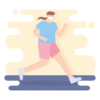 People with medical face mask, young woman practicing running, city activity during coronavirus