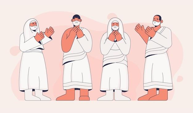 Persone con mascherina medica nell'illustrazione di pellegrinaggio hajj