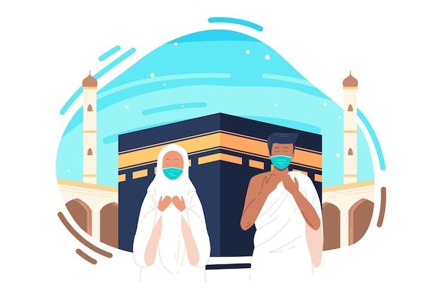 Люди с медицинской маской на иллюстрации паломничества хаджа