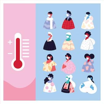 Люди с медицинской маской страдают от высокой температуры