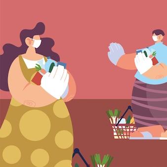 Люди с медицинскими масками делают покупки в супермаркете, социальное дистанцирование