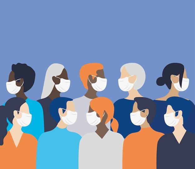 Люди с медицинскими масками
