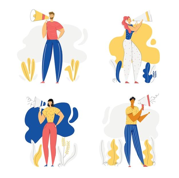 Люди с концепцией рекламы мегафона. мужские и женские персонажи продвигаются с помощью громкоговорителя. рекламная маркетинговая кампания по продажам.