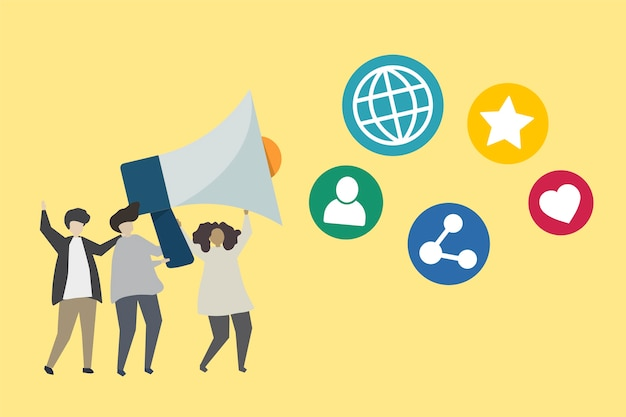 People with megaphone and social media icons illustration