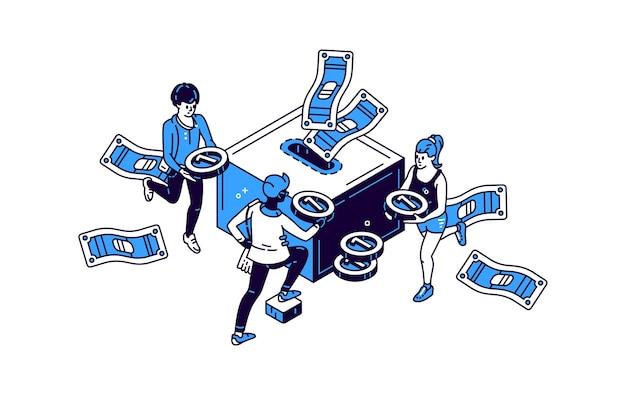Люди с иконой денег и копилки с золотой монетой изометрической иллюстрации