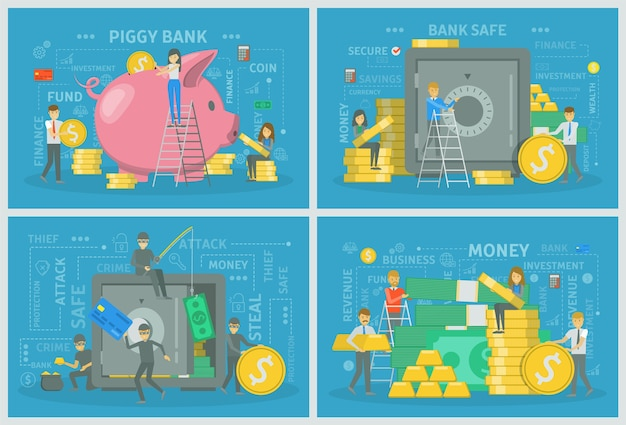 People with money making financial operation set. savings in piggybank and money steal from bank safe. e-commerce and economy. vector flat illustration