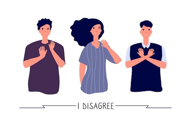 Люди с негативными жестами. молодые люди отрицательны, не любят и останавливаются, отказываясь от жестов. векторный концепт запрета. иллюстрация стоп-жест, нет и отказаться от выражения, отказ и запрещено