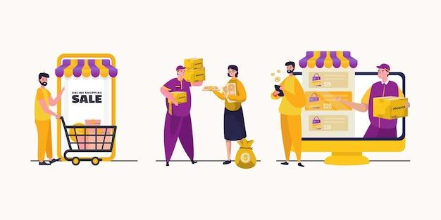 Люди с набором интернет-магазинов иллюстрации