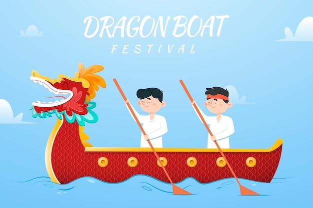 ドラゴンボートの背景にパドルを持つ人々