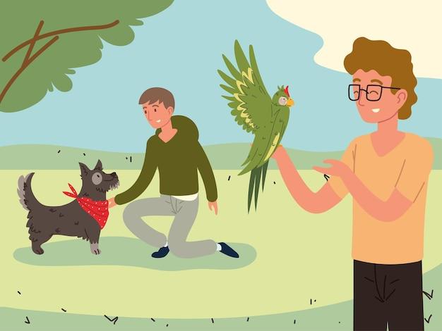 公園にペットを飼っている人