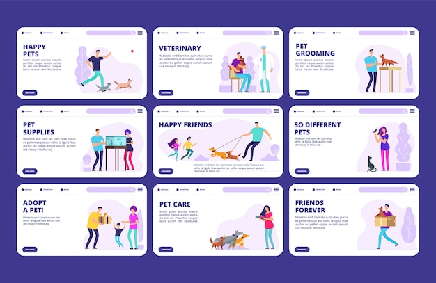 People with pets landing pages template