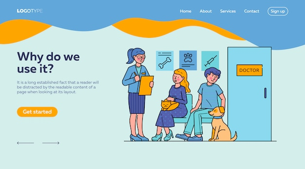 People with pets waiting for doctor in queue landing page template