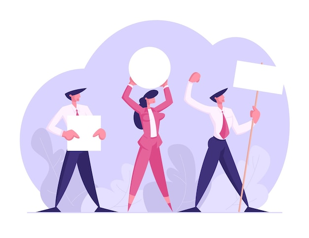 People with placards on demonstration flat illustration