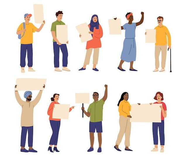 플래카드를 가진 사람들. 항의 문자, 남성 여성 시위대는 배너를 들고. 고립 된 만화 활동가, 데모 사람 벡터 집합입니다. 일러스트 여성과 남성 데모
