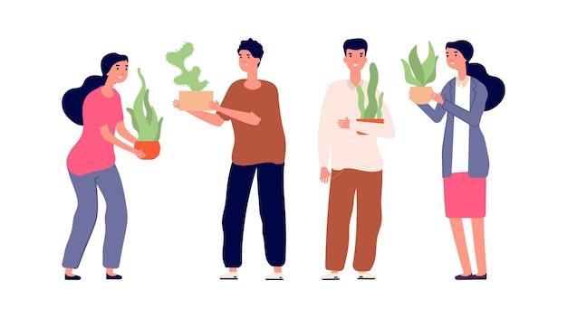 植物を持っている人。ガーデニングと植栽。鉢植えの花を持つ男性と女性、家の庭のイラスト。観葉植物の園芸、植物の植木鉢、緑の成長