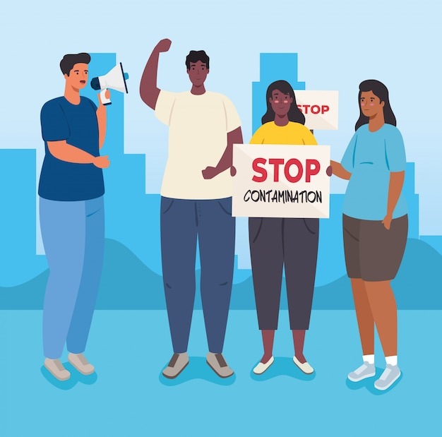 抗議のプラカードとメガホン、ストライキの兆候とメガホン、人権の概念を持つ活動家の人々