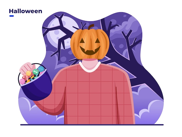 People with pumpkin head or jack o lantern costume celebrate halloween day with bringing candy bag