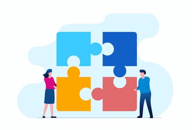 チームワークビジネスフラットベクトルイラストバナーとランディングページを表すパズルを持つ人々