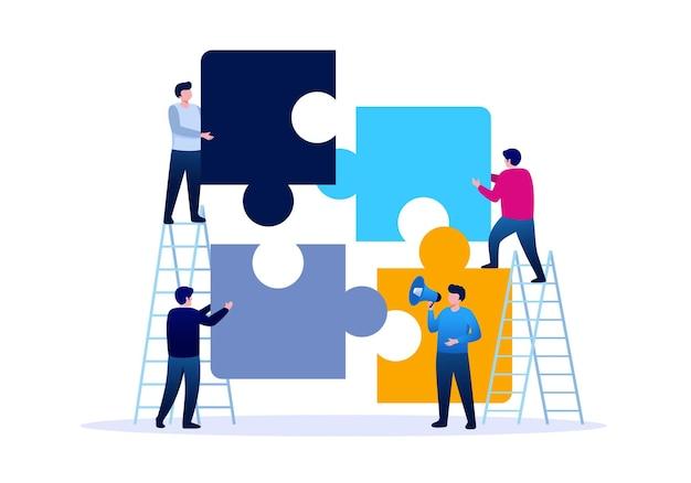 チームワークビジネスフラットベクトルイラストを表すパズルを持つ人々
