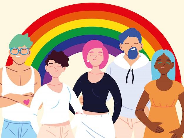People with rainbow, gay pride symbol