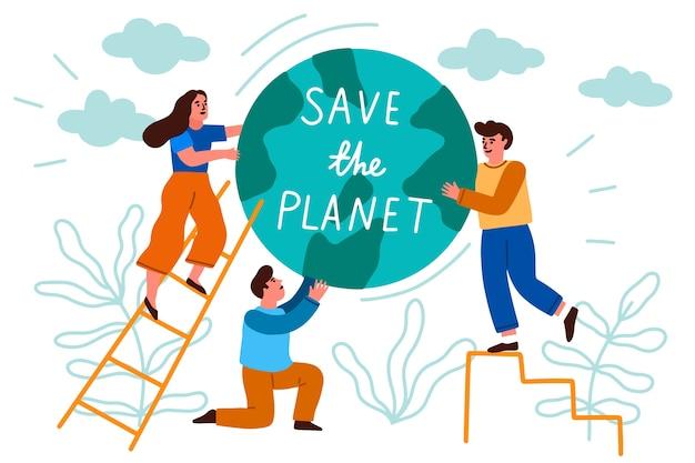 地球を救う人々 無料ベクター