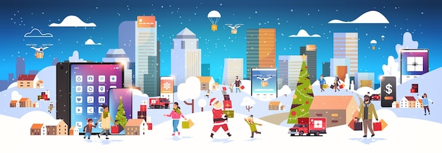 People with shopping bags walking outdoor using online mobile app  characters preparing for christmas new year holidays winter cityscape banner