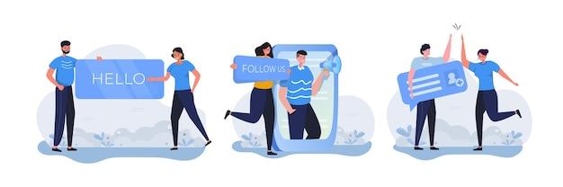 Люди со знаком приветствия подписываются и добавляют новых друзей в концепции социальных сетей