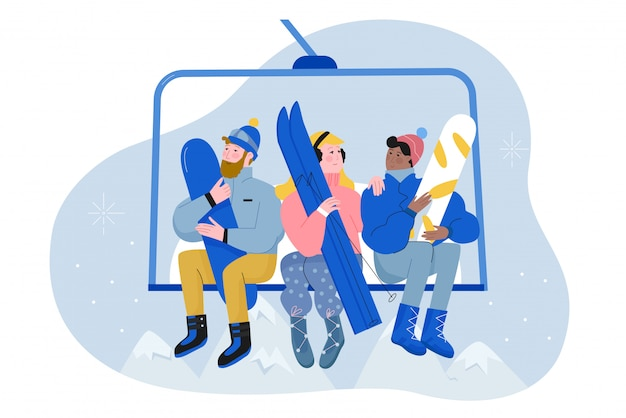 People with ski and snowboard climb lift flat character illustration winter vacation concept