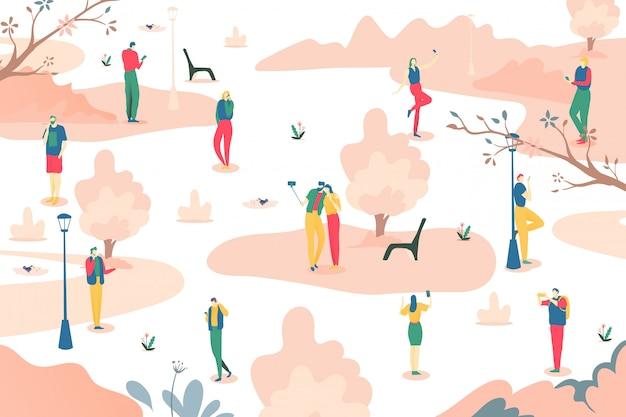 Люди с smartphone на парке, иллюстрации. интернет мобильная зависимость, социальная связь онлайн в устройстве телефона.