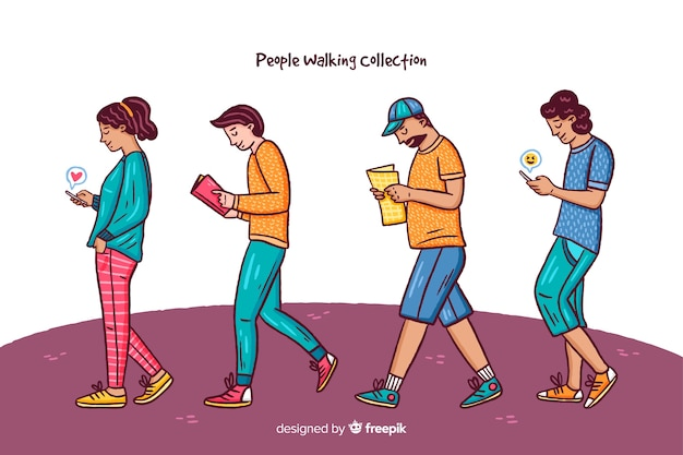 People with smartphone collection