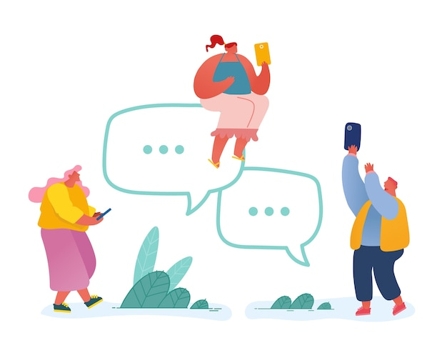 People with smartphones and speech bubbles